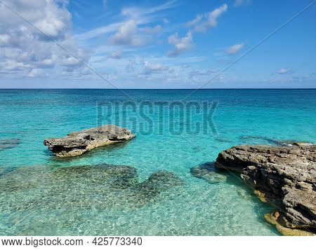 Crystal Clear Water Amidst Rocks And Sandy Beaches Of North Biminis West Coast In Bahamas.