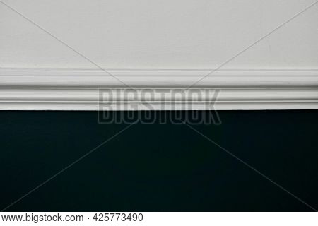 Victorian Design Feature - Dado Rail Painted White On White And Teal Wall