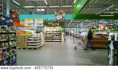 St. Petersburg, Russia - April, 2021: Top Russian Supermarket Is One Of Largest Players Of Retail In