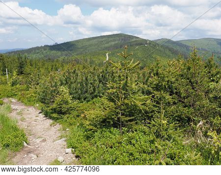 Route At Silesian Beskids Mountains Range Landscapes Above European City Of Szczyrk In Poland, Clear