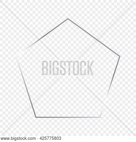 Silver Glowing Pentagon Shape Frame Isolated On Transparent Background. Shiny Frame With Glowing Eff