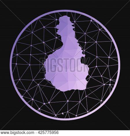 Tioman Island Icon. Vector Polygonal Map Of The Island. Tioman Island Icon In Geometric Style. The I
