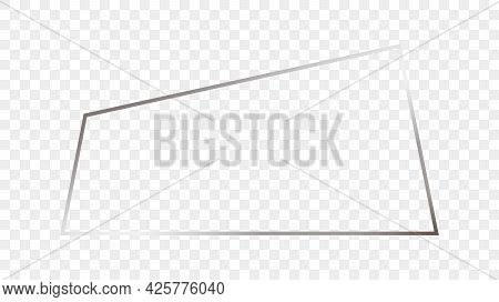 Silver Glowing Trapezoid Shape Frame Isolated On Transparent Background. Shiny Frame With Glowing Ef