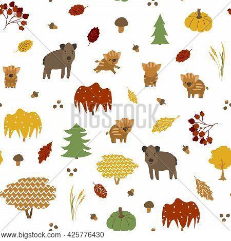 Bright Boar Family Seamless Pattern. Vector Illustration Has Leaves, Acorns, Maple, Pumpkin, Mushroo