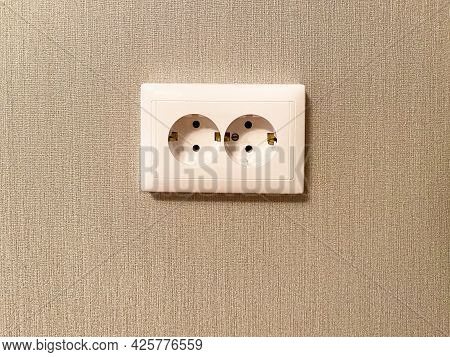 Double Wall Socket In White Color Close-up