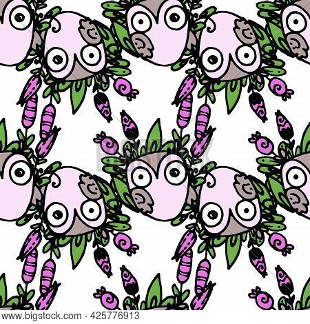 Vector Seamless Owl Pattern With A Floral Pattern. A Pattern Of A Hand-drawn Lilac Funny Owl With Be