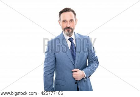 Mature Grizzled Businessman In Businesslike Suit Isolated On White, Business