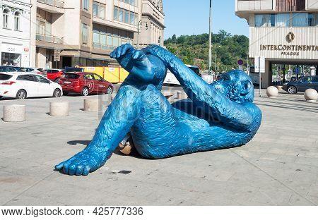 Prague, Czech Republic - July 24, 2019: Statue King Kong Balls By French Artist Denis Defrancesco