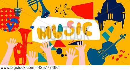 Music Promotional Banner With Musical Instruments Colorful Vector Illustration. Violoncello, Piano,