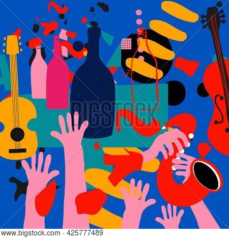 Music Promotional Poster With Musical Instruments Colorful Vector Illustration. Violoncello, Guitar