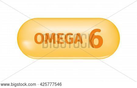 Golden Glossy Capsule With Text Omega 6. Pill Of Fish Oil, Polyunsaturated Fatty Acid. Healthcare An