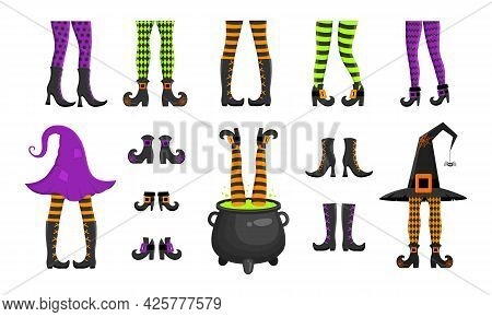 Set Of Different Witch Legs In Stockings And Boots, Sticking Up From Hat And Cauldron. Funny Design