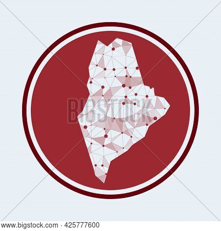 Maine Icon. Trendy Tech Logo Of The Us State. Geometric Mesh Round Design. Technology, Internet, Net