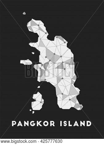 Pangkor Island - Communication Network Map Of Island. Pangkor Island Trendy Geometric Design On Dark