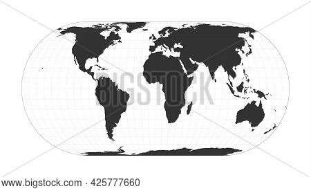 Map Of The World. Eckert Iv Projection. Globe With Latitude And Longitude Net. World Map On Meridian