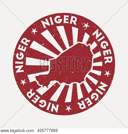 Niger Stamp. Travel Red Rubber Stamp With The Map Of Country, Vector Illustration. Can Be Used As In