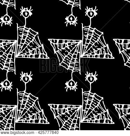 Vector Seamless Pattern Of A Piece Of Triangular Spider Web With Spiders Hanging On Them With A Cros
