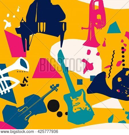 Music Promotional Poster With Musical Instruments Colorful Vector Illustration. Piano, Cello, Trumpe