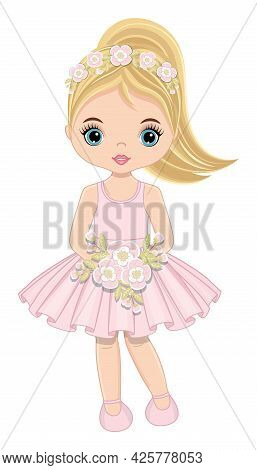 Beautiful Cute Blond Teenager Girl In Pastel Pink Dress And Ponytail Holding Flowers. Vector Illustr