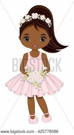 African American Cute Teenager Girl In Pastel Pink Dress With Ponytail Holding Flowers. Vector Illus