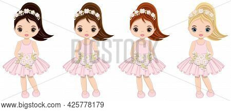 Beautiful Cute Teenager Girls In Pastel Pink Dresses And Ponytails With Various Hair Colors Holding