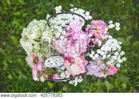 Flowering White And Pink Flowers Of Floxes On A Natural Background Outdoors.