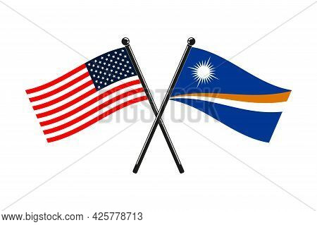 National Flags Of Marshall Islands And Usa Crossed On The Sticks In The Original Colours