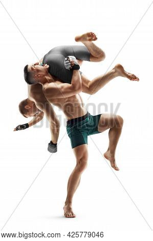 Mma Fighting. Side Slam. Two Fighters Are Fighting. Sport Concept. Isolated