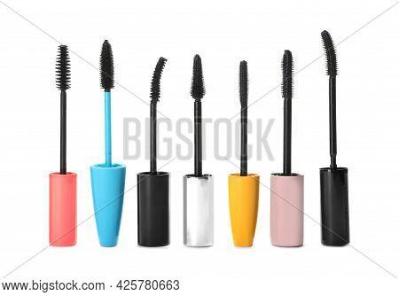 Many Mascara Wands For Eyelashes On White Background. Makeup Product