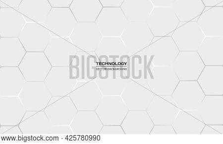 Light Gray Hexagonal Technology Vector Abstract Background. White Bright Energy Flashes Under Hexago