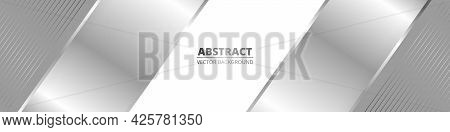 Wide Luxury Abstract Background With Silver Gradient Lines And Shadows. Modern Light Silver Color Wi
