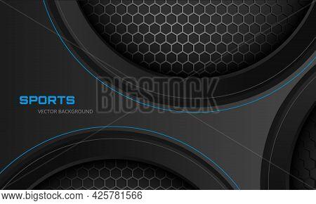 Dark Gray Abstract Futuristic Metallic Sports Vector Background With Hexagon Carbon Fiber. Dark Back