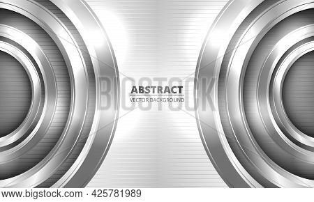 Abstract Bright Metallic Vector Background. Three-dimensional Metal Silver Circles On Striped Metal