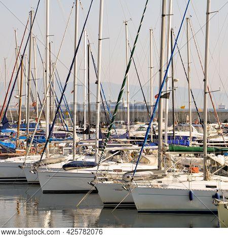 Marina Waiting Boats, The Many Boats Of The Marina In Istanbul, Turkey