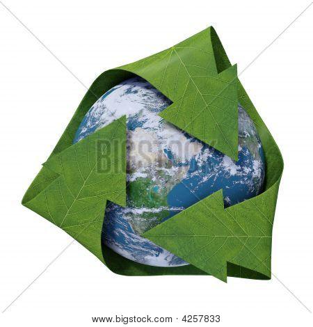 Globe with green leaf-like arrows - recycling symbol
