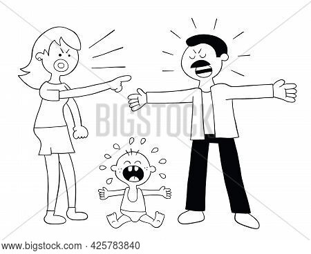 Cartoon Parents Fighting And Baby Crying, Vector Illustration. Black Outlined And White Colored.