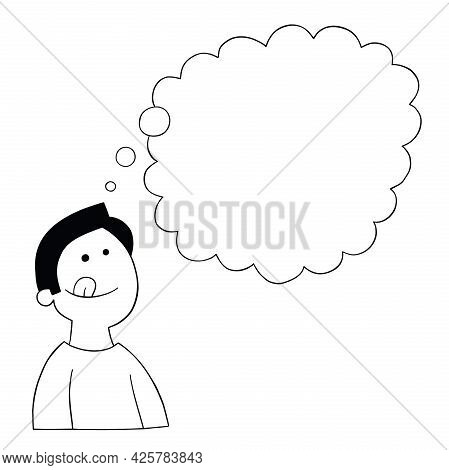 Cartoon Man Is Craving Food, Vector Illustration. Black Outlined And White Colored.