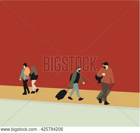 Tourists With Suitcases Are Traveling To Travel And Wearing Face Mask Protect Coronavirus Covid-19.