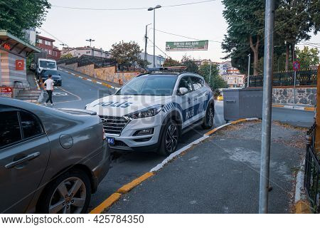 Beyoglu, Istanbul, Turkey - 06.27.2021: A Modern Turkish Police Car Parked Near Police Station On A