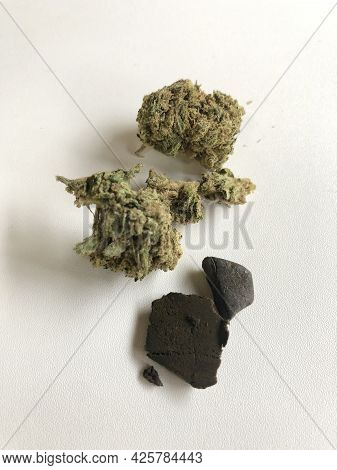 Different Forms Of Marijuana, Likehash And Weed, Or Grass