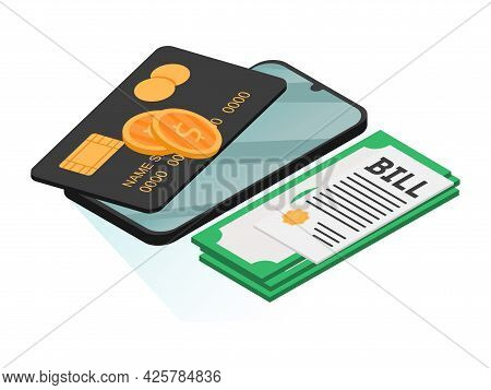 Bill Of Expenses Is On Mobile Phone.pay Bills With Mobile Phone.online Shopping Spending.online Shop