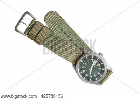 Isolated Green Watch. Top View Military Wrist Watch With Green Nylon Strap On White Background. Clip