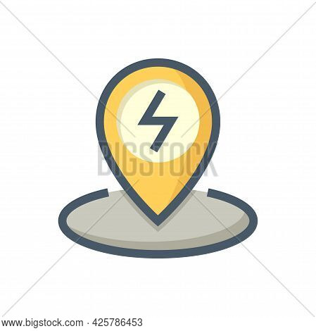 Charging Station Point For Ev Or Hybrid Car Vector Design. That Icon, Sign Or Symbol Of Pin And Elec