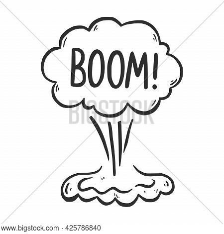 Hand Drawn Cloud Speech Bubble Element With Boom Text. Comic Doodle Sketch Style. Explosion Cloud Ic