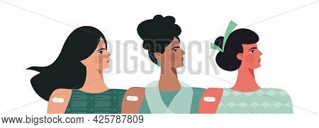 Diverse Women After Vaccination Concept Vaccine Injection In Arm, Shoulder. Set Of Multiracial Femal