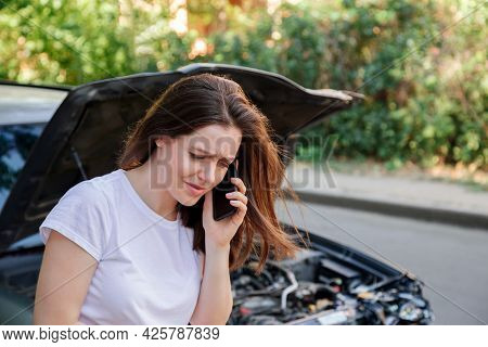 Scared Woman In Stress After Auto Crash Calling To Auto Insurance For Help. Driver Woman Crying In F