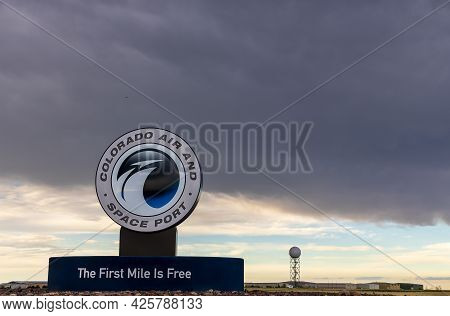 Denver, Colorado - July 2, 2021: Colorado Air And Space Port Sign And Logo. Colorado Air And Space P
