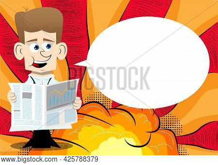 Funny Cartoon Doctor Reading The News. Vector Illustration. Health Care Worker Holding A Big Newspap