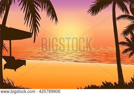 Vector Illustration Of Natural Scenery Tropical Beach Sunset Silhouette. Sunset Ocean Tropical Resor