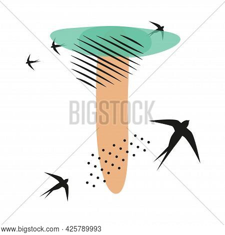 Minimalistic Pattern An Oriental Style In Form Of Letter T. Flock Of Swallows Flies. Abstract Object